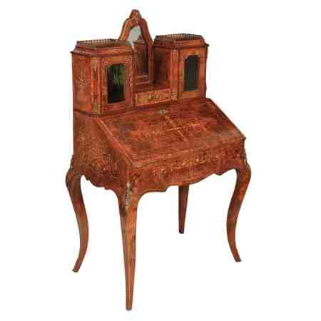 Walnut Marquetry Inlaid Bonheur Du Jour Writing Desk