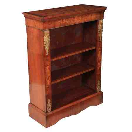 Marquetry Inlaid Walnut Open Bookcase