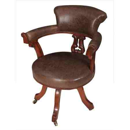 Oak and Leather Swivel Desk Chair