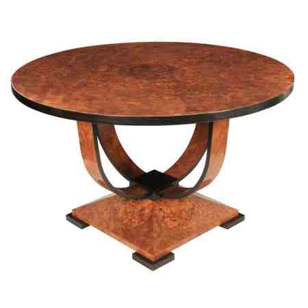Art Deco Burr Walnut Round Dining Centre Table
