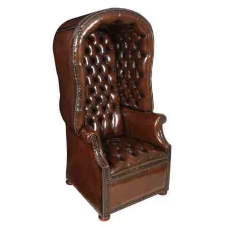 Brown Leather Chesterfield Porters Chair