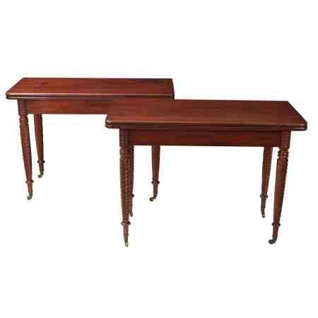 Pair of Cuban Mahogany Regency Tea Tables
