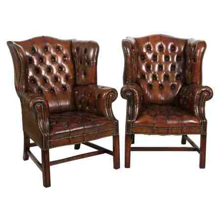 Pair of Brown Leather Chesterfield Wing Chairs