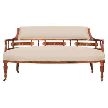 Rosewood Marquetry Inlaid Tub Sofa Couch