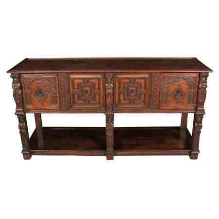 Victorian Carved Oak Dresser base Sideboard