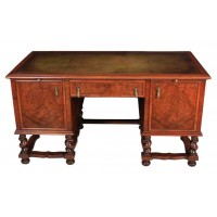 Walnut Leather top Desk in the style of William & Mary