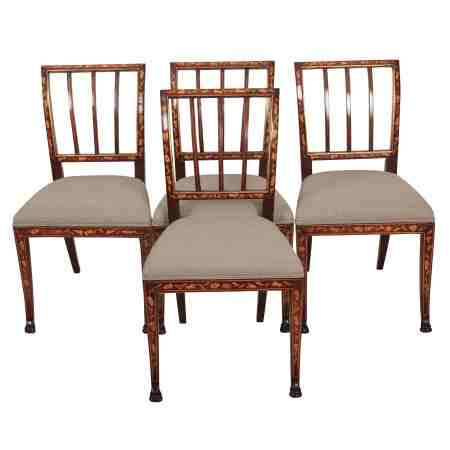 Set of 4 Dutch Marquetry Mahogany Inlaid Chairs