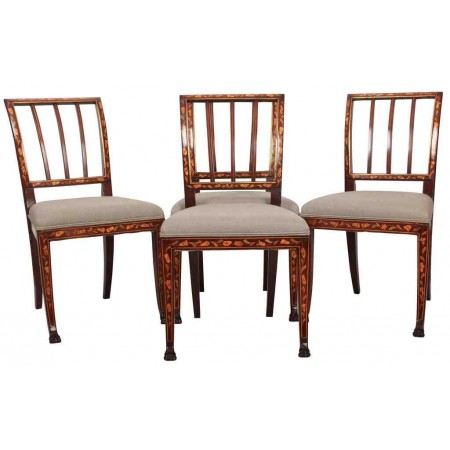4 Dutch Marquetry Inlaid Mahogany Dining Chairs