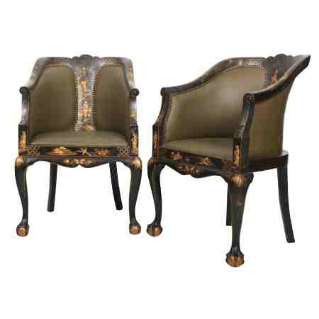 Pair of Japanned Chinoiserie Leather Library Chairs