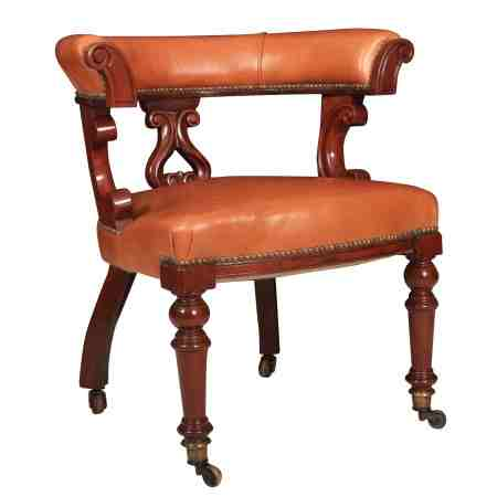 Victorian Mahogany Leather Captains Desk Chair
