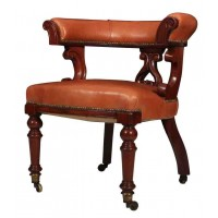 Victorian Mahogany & Leather Captains Desk Chair