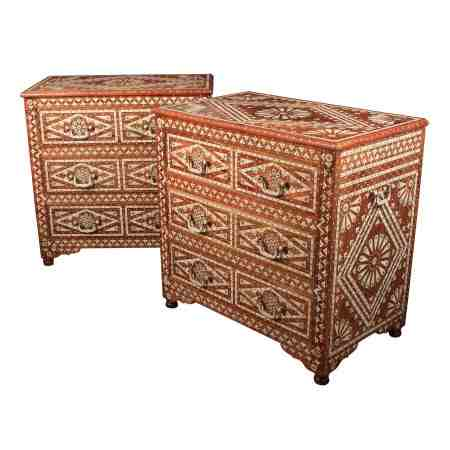 Pair of Impressive Bone Inlaid Hardwood Chest of Drawers