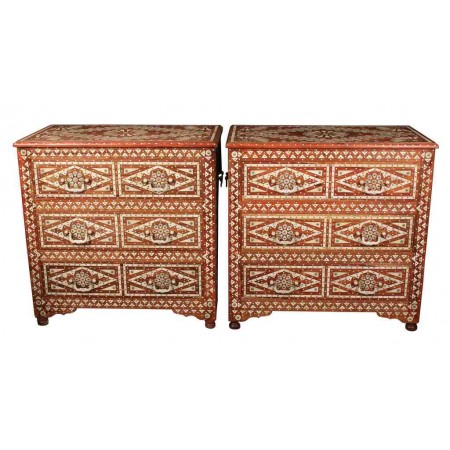 Pair of Chests Inlaid with Mother of Pearl & Bone