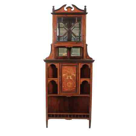 Rosewood Marquetry Inlaid Corner Cupboard