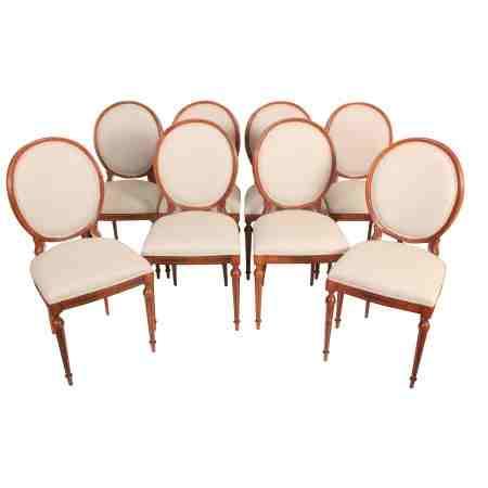 Set of 8 Figured Walnut Dining Chairs