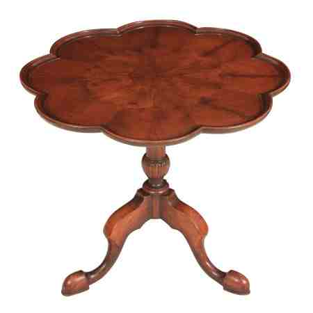 Shaped Walnut Pie Crust Tip Top Occasional Table