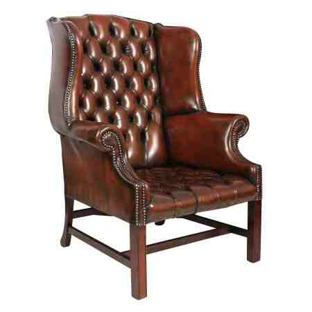 Hand Dyed Buttoned Leather Chesterfield Wing Chair