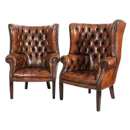 Pair of Leather Buttoned Chesterfield Porters Barrel Library Chairs