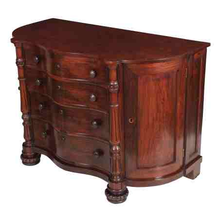 Serpentine Rosewood and Burr Walnut Chest