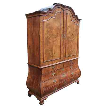 Superb 18th Century Dutch Walnut Bombe Press Wardrobe