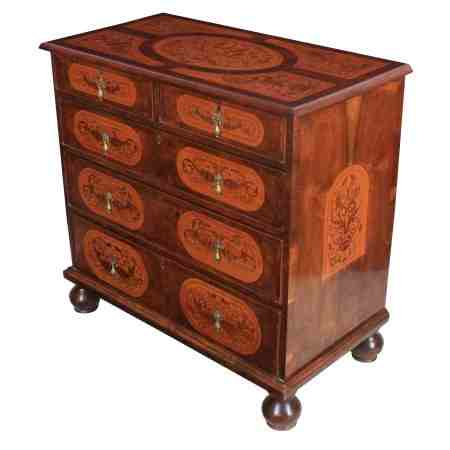 William & Mary Style Marquetry Walnut Chest