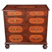 Marquetry Inlaid Walnut Chest of Drawers