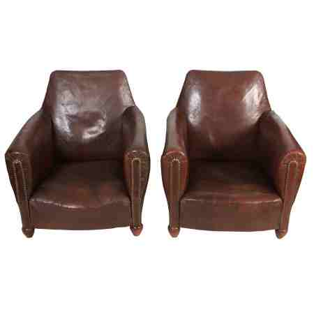 Rustic Leather French Chairs