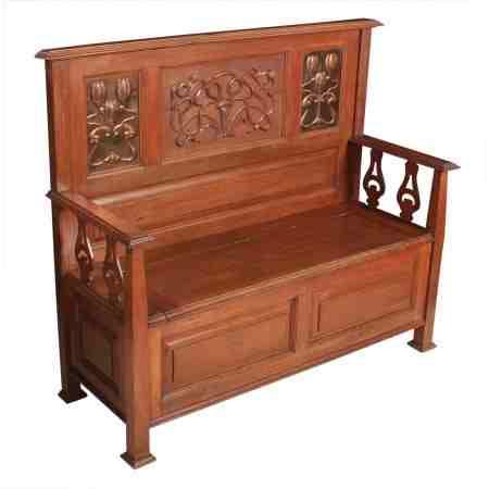 Art Nouveau Oak Box Settle Bench