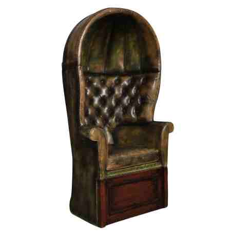 Green Buttoned Leather Porters Chair