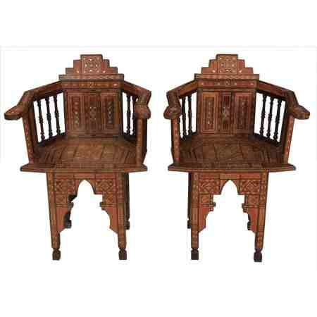 Pair of Damascus Islamic Inlaid Armchairs