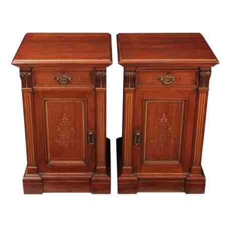 Impressive Pair of Gilt & Walnut Bedside Cabinets