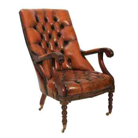 Mahogany and Leather Chesterfield Library Chair