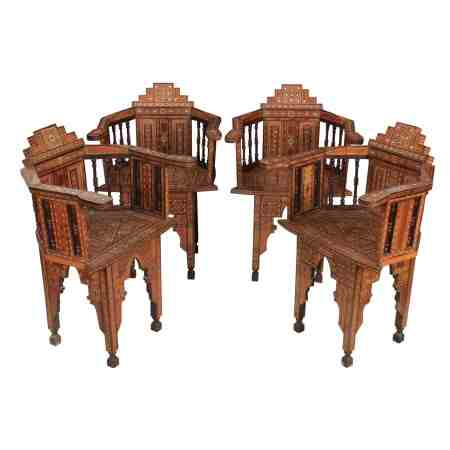 Set of 4 Damascus Islamic Inlaid Armchairs