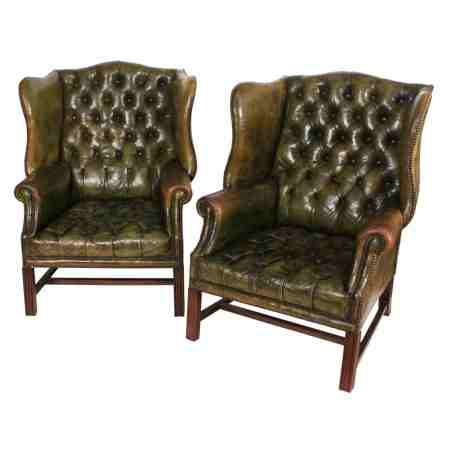 Pair of Green Leather Wing Chairs