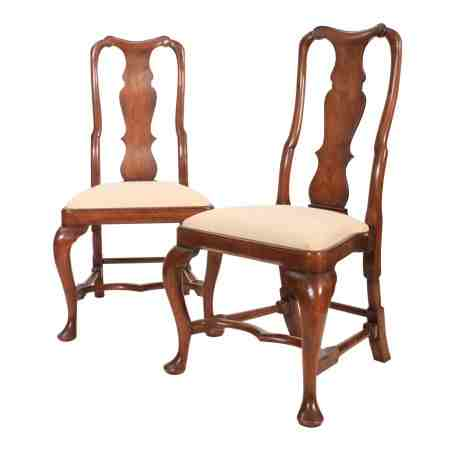 Pair of Queen Anne Style Walnut Chairs