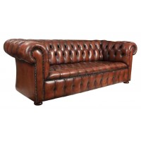 Hand Dyed Leather Chesterfield Sofa