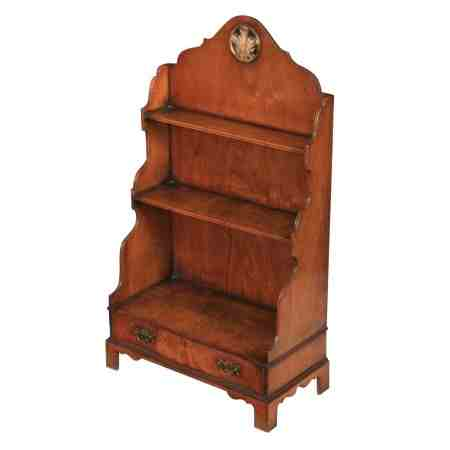 Small Queen Anne Style Walnut Open Bookcase