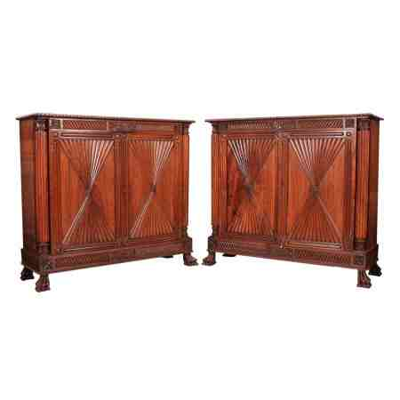 Stunning Pair of Anglo Indian Padauk Wood Side Cabinets