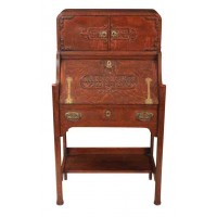 Carved Oak Bureau - Arts & Crafts