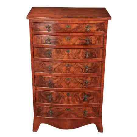 Figured Walnut Bow Front Slim Walnut Chest of Drawers