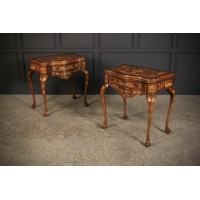 Pair of Dutch Marquetry Inlaid Serpentine Card Tables