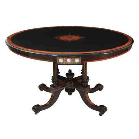 Ebonised and Walnut Oval Loo Table