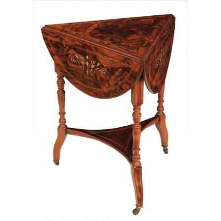 Marquetry Inlaid Rosewood Drop Flap Occasional Table