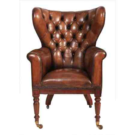 Exceptionally Rare George III Mahogany and Leather Wing Library Chair