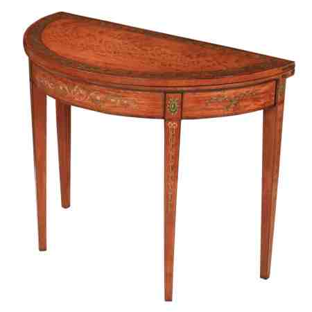 Decorated Satinwood Demi Lune Card Table