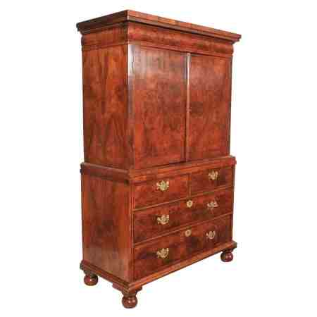 Queen Anne Figured Walnut Cabinet on Stand