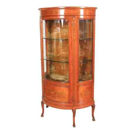 Demi Lune Shoolbred Marquetry Satinwood Display Cabinet