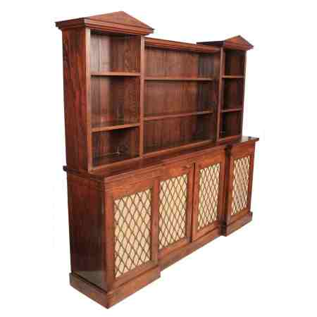 Large Rosewood Inverted Breakfront Open Bookcase