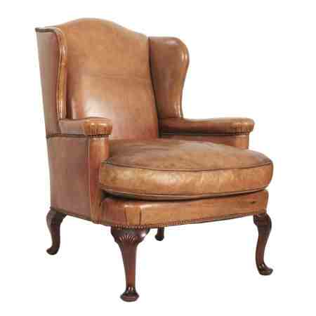 Stunning Leather Library Wing Chair