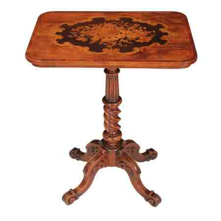 Magnificent Walnut Marquetry Inlaid Occasional Table